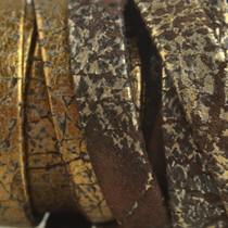 Goud Plat nappa leer Vintage bruin goud 10x2mm - prijs per cm
