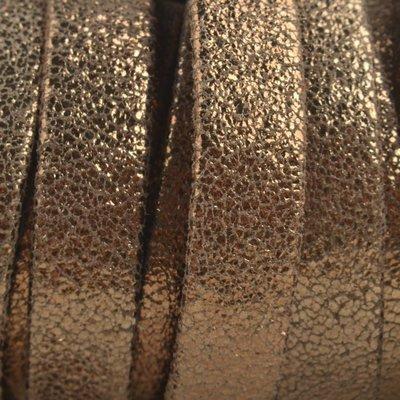 Bruin Plat nappa leer Geschuurd koper bruin 10x2mm - prijs per cm