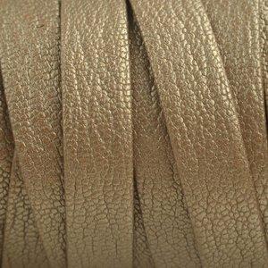 Goud Plat nappa leer Naturel goud 10x2mm - prijs per cm