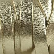 Goud Plat nappa leer Licht goud metallic 10x2mm - prijs per cm