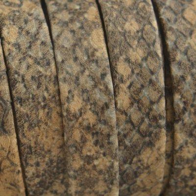 Bruin Plat nappa leer Cognac grijs snake 10x2mm - prijs per cm