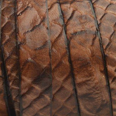 Bruin Plat Italian leer Cognac snake 10x2mm - prijs per cm