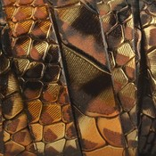 Bruin Plat Italian leer Bruin goud reptiel 10x2mm - prijs per cm
