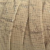 Bruin Plat nappa leer Cream platina metallic 10x2mm - prijs per cm