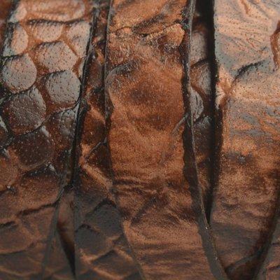 Bruin Plat Italian leer Cognac bruin reptiel 10x2mm - prijs per cm