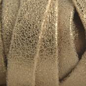 Goud Plat nappa leer Geschuurd goud metallic 10x2mm - prijs per cm