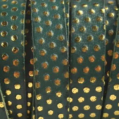 Groen Plat Italian leer Green golden dots 10x2mm - prijs per cm