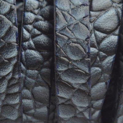 Blauw Plat Italian leer Croco jeans blue 10x2mm - prijs per cm