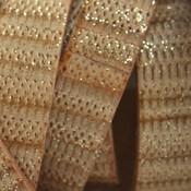 Bruin Plat Italian leer Naturel golden glitter 10x2mm - prijs per cm