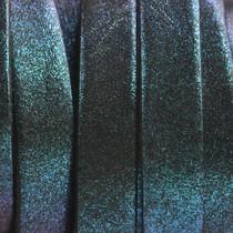 Blauw Plat Italian leer Blue glitter 10x2mm - prijs per cm