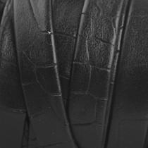 Zwart Plat nappa leer Zwart croco 10x2mm - prijs per cm