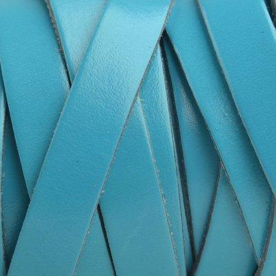 Blauw Plat Italian leer Aqua blauw 10x2mm - prijs per cm