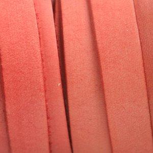 Oranje Plat Italian leer Vintage coral 10x2mm - prijs per cm