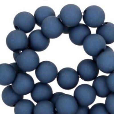 Blauw Acryl kralen mat Corsair blue 8mm - 50 stuks