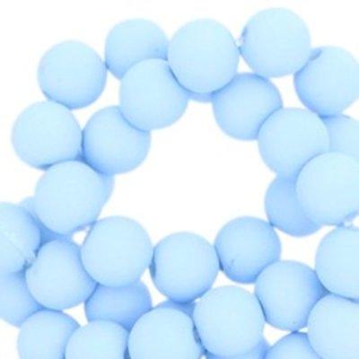 Blauw Acryl kralen mat Arctic sky blue 8mm - 50 stuks