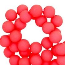 Rood Acryl kralen mat Bright coral red 8mm - 50 stuks