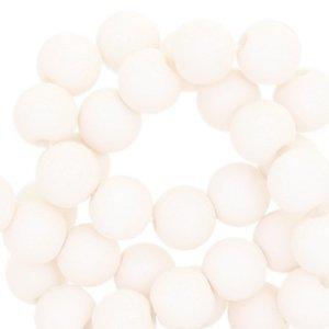 Wit Acryl kralen mat Pale ivory white 8mm - 50 stuks