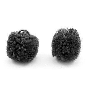 Grijs Pompom bedels Anthracite black Silver 15mm