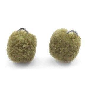 Groen Pompom bedels Olive green Silver 15mm