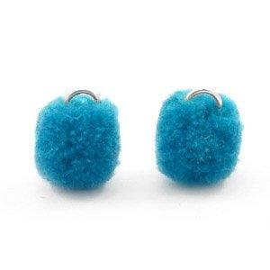 Blauw Pompom bedels Dark ocean blue Silver 15mm