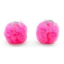 Roze Pompom bedels Hot pink Silver 15mm