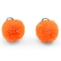 Oranje Pompom bedels Coral red orange Silver 15mm