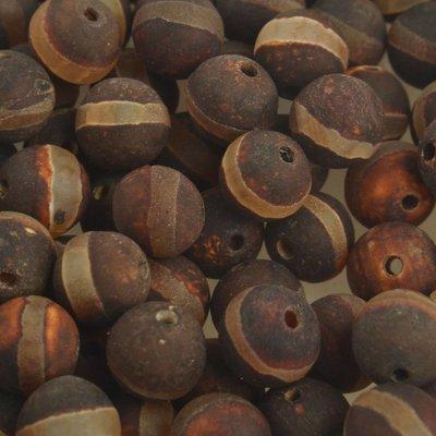 Bruin Edelsteen agaat donker bruin met streep 8mm