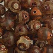 Bruin Edelsteen agaat creme met donker bruine dots 8mm
