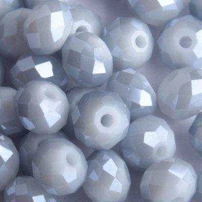 Grijs Facet rondel blauw grijs shine 8x6mm - 35 stuks