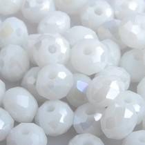 Wit Facet rondel wit ab shine 8x6mm - 35 stuks