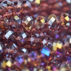 Paars Glaskraal facet rondel amethist AB 6x4mm - 45 stuks