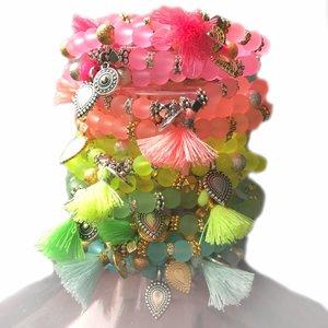 Multicolor Ibiza armbanden Complete set Neon - 10 armbanden