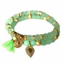 Groen Ibiza armbanden set Neon groen goud