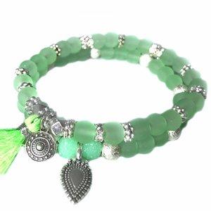 Groen Ibiza armbanden set Neon Groen Zilver