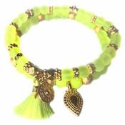 Geel Ibiza armbanden set Neon Geel goud