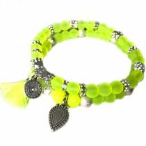 Geel Ibiza armbanden set Neon Geel zilver