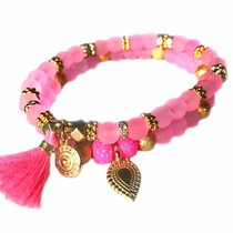 Roze Ibiza armbanden set Neon Roze Goud