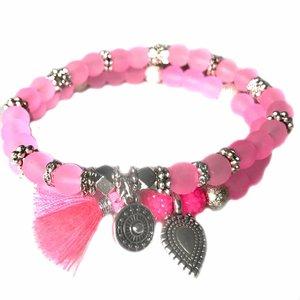 Roze Ibiza armbanden set Neon Roze Zilver