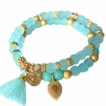 Blauw Ibiza armbanden set Neon Aqua Goud