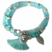 Blauw Ibiza armbanden set Neon Aqua Zilver
