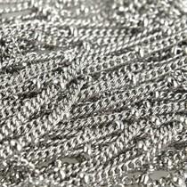 Rvs Schakelketting RVS platte schakel met bolletjes 2mm - prijs per 10cm