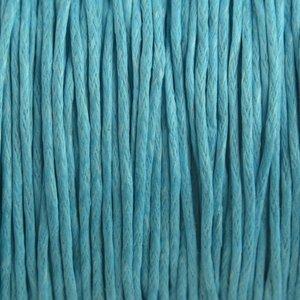 Blauw Waxkoord aqua blauw 1mm - 10 meter