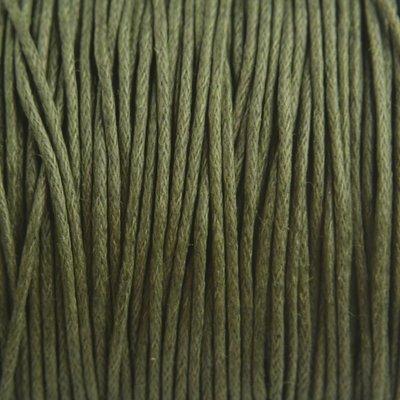Groen Waxkoord Dark army green 1mm - 10 meter