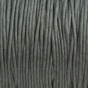Grijs Waxkoord donker grijs 1mm - 10 meter