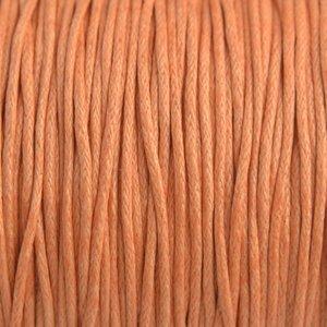 Oranje Waxkoord peach 1mm - 10 meter