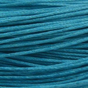 Blauw Waxkoord Aqua blue 1mm - 10 meter