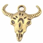 Antiek Goud Brons Bedel Buffel skull Brons 20.5x20mm - 6 stuks
