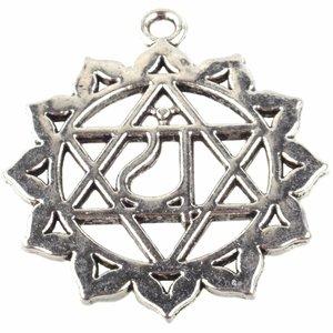 Zilver Bedel hart chakra 'anahata' Zilver 34x30mm
