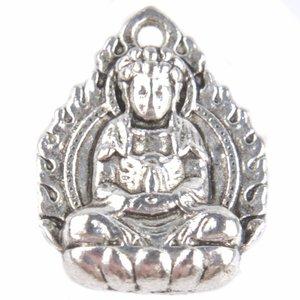Zilver Bedel buddha Zilver 16x12mm - 5 stuks