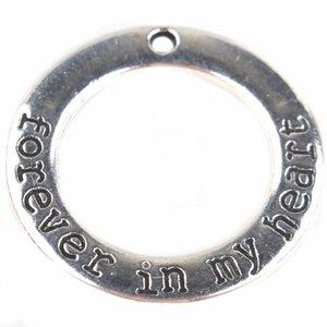 Zilver Bedel ring 'forever in my heart' Zilver 29mm